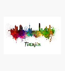 Tianjin skyline in watercolor Photographic Print