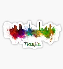 Tianjin skyline in watercolor Sticker