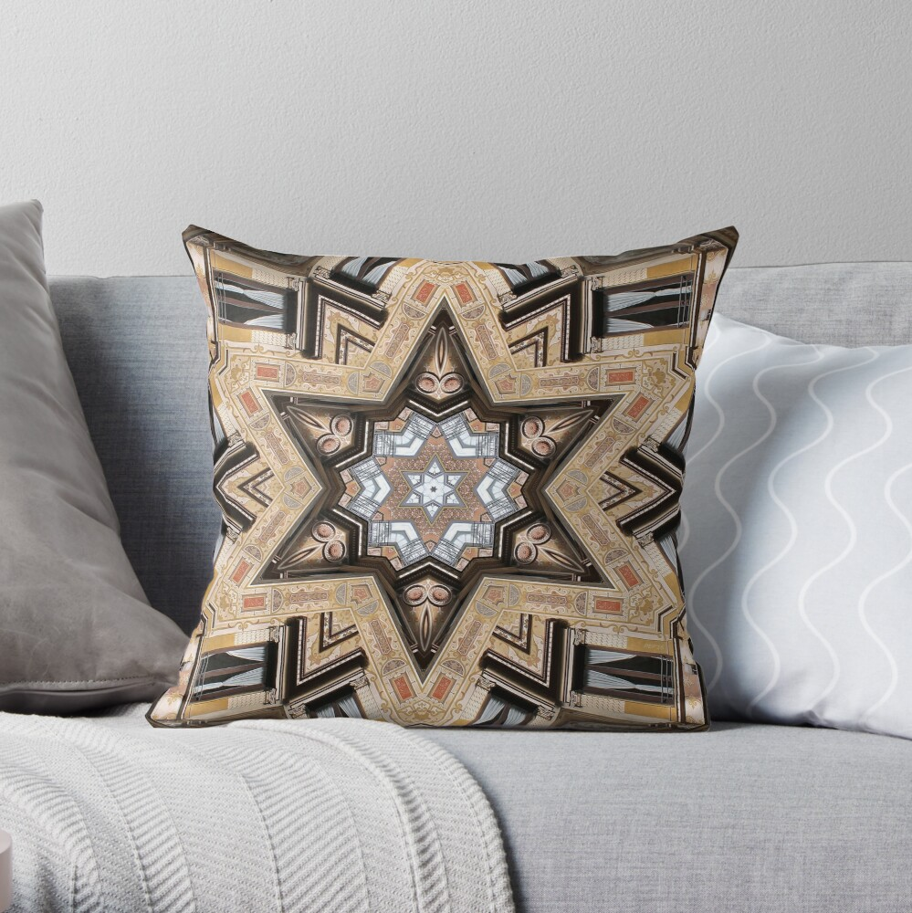 Architectural Star of David Throw Pillow