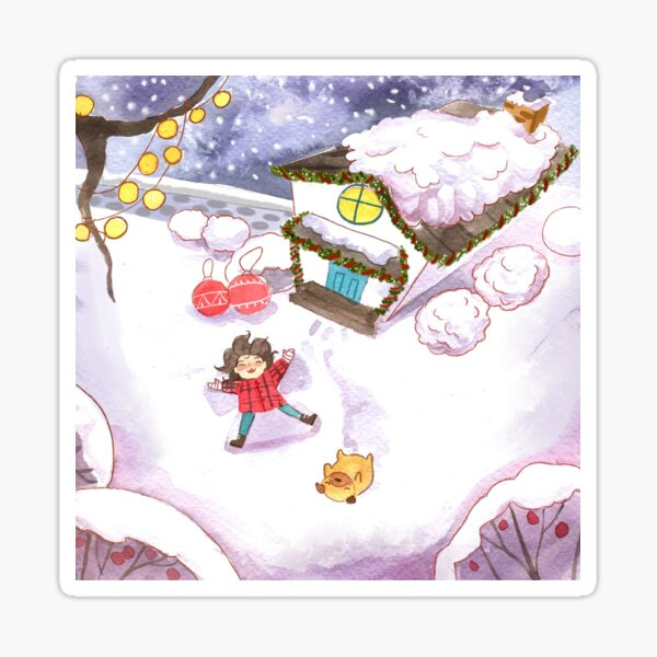 Watercolor Snow Angels with Pug and Girl Christmas Outdoor Adventures Sticker