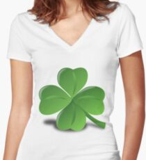 Four leaf clover glazing Women's Fitted V-Neck T-Shirt