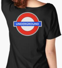 TUBE, UNDERGROUND, LONDON, ENGLAND, UK, BRITAIN, English, BRITISH, on BLACK Women's Relaxed Fit T-Shirt