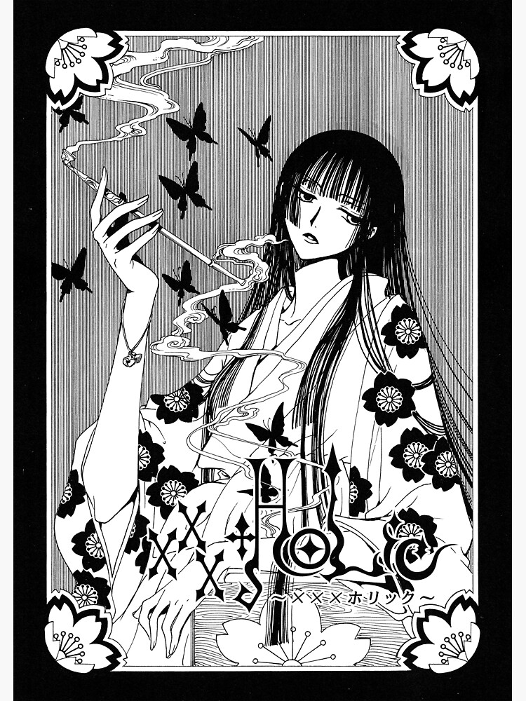 sticker yuuko ichihara fumant des papillons noirs