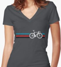 Bike Stripes Velodrome Women's Fitted V-Neck T-Shirt
