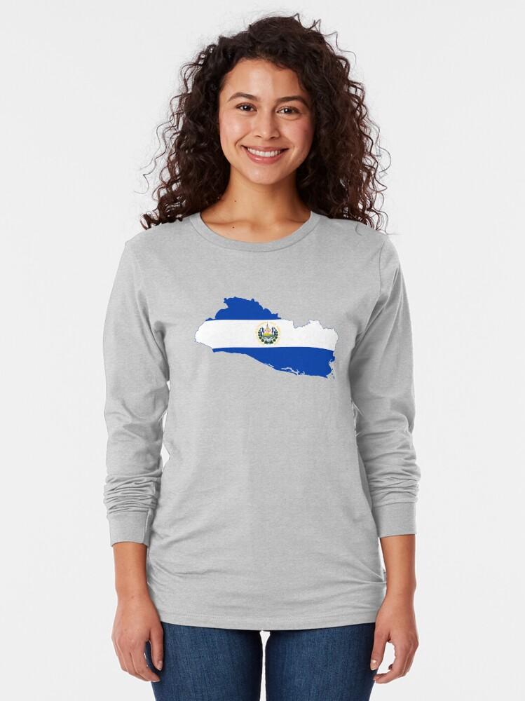 Alternate view of Flag Map of El Salvador  Long Sleeve T-Shirt