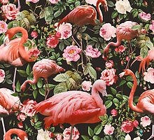 Floral and Flamingo Pattern by Burcu Korkmazyurek