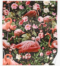 Floral and Flamingo Pattern Poster