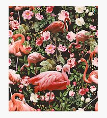 Floral and Flamingo Pattern Photographic Print
