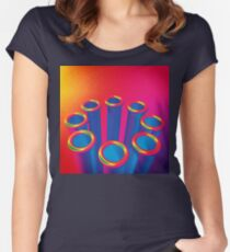 Colorful Pop Art Cylinders Women's Fitted Scoop T-Shirt