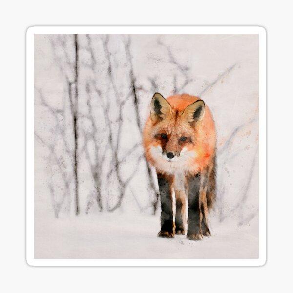 Red Fox Watercolor Sticker