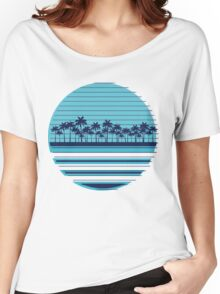 Palm trees blue beach Women's Relaxed Fit T-Shirt