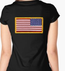 American, ARMY, Flag, reverse side flag, Arm Badge, Embroidered, Stars and Stripes, USA, United States, America, Military Badge Women's Fitted Scoop T-Shirt