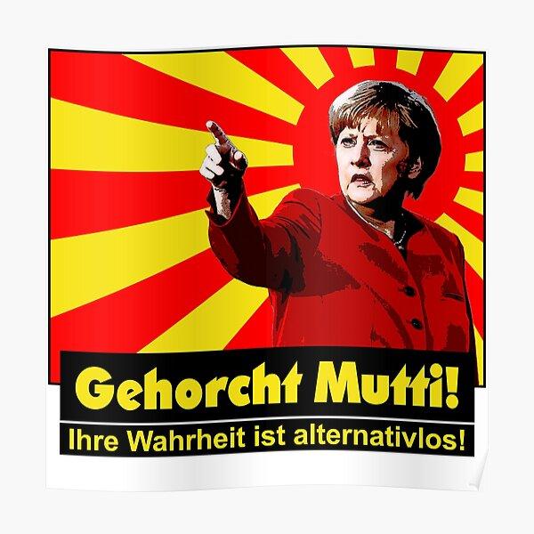 OBEY mom! [V 3b] | Merkel | Protest | China propaganda style Poster