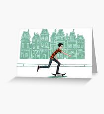 Euro street skater in gouache Greeting Card