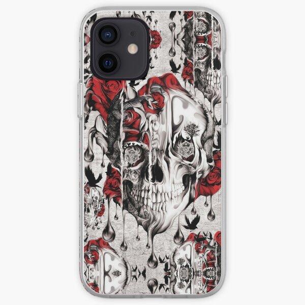 Melt down grunge rose skull iPhone Soft Case