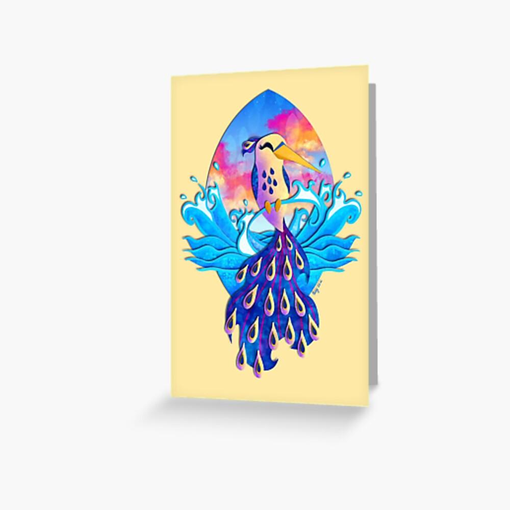 Sunset Ocean Hummingbird Greeting Card