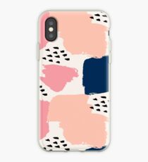 Pink, Navy and Black Abstract iPhone Case