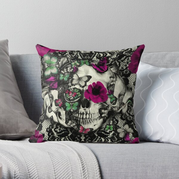 Victorian Gothic Lace skull Throw Pillow
