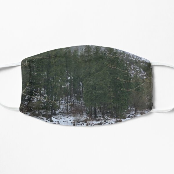 Snowy Mountain Trees on a River Mask