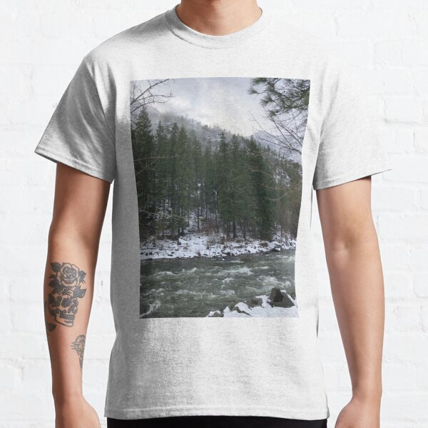 Snowy Mountain Trees on a River Classic T-Shirt