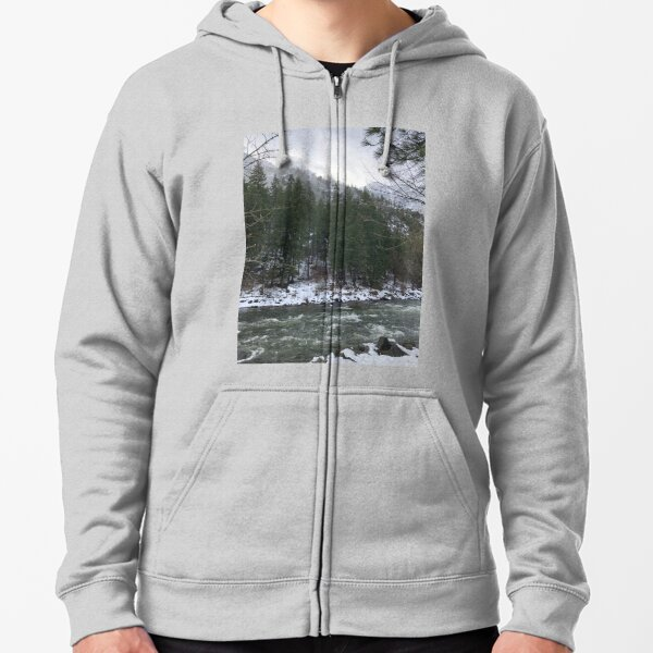 Snowy Mountain Trees on a River Zipped Hoodie