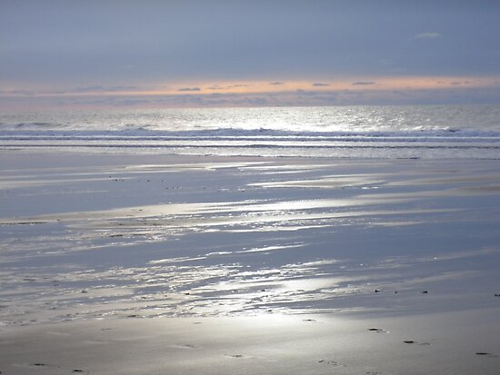 TRANQUIL SILVER BLUE CORNWALL BEACH WINTER SUNSET by Richard Brookes