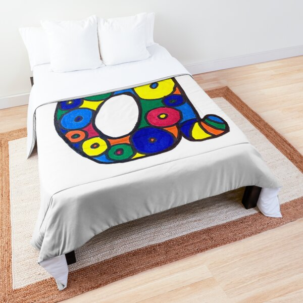 letter a in colorful circles Comforter
