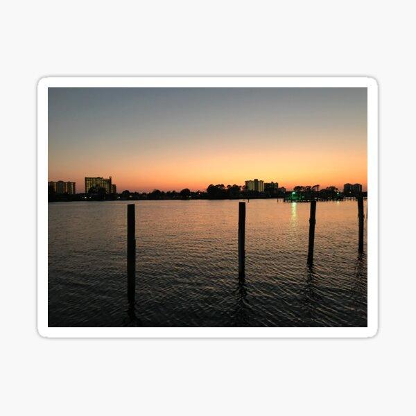 Sunset over the lagoon Sticker