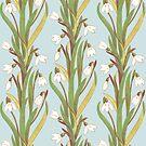 snowdrop flowers pattern grey by Maria Khersonets