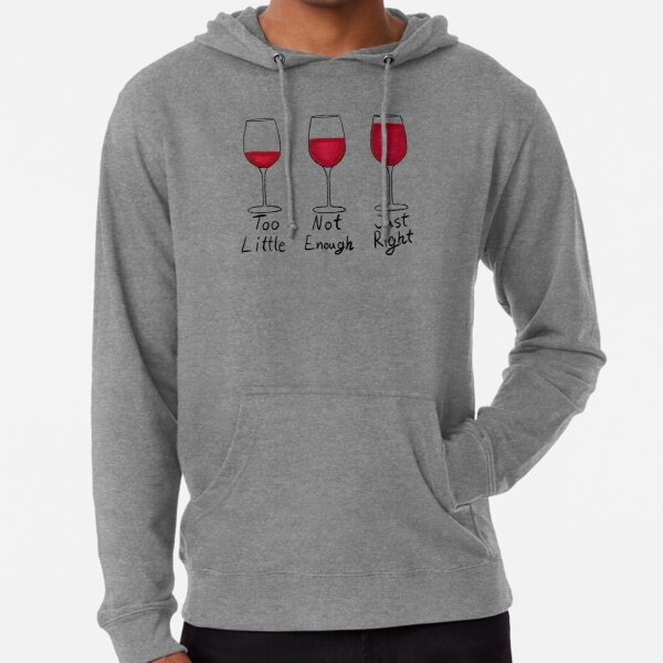 The Correct Amount of Wine - Red Wine Black Text Lightweight Hoodie