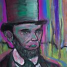psychedelic president  Abraham Lincoln with stovepipe hat  and pink halo by Followthedon