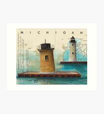 St Clair Flats Range Lighthouses MI Nautical Chart Map Cathy Peek Art Print