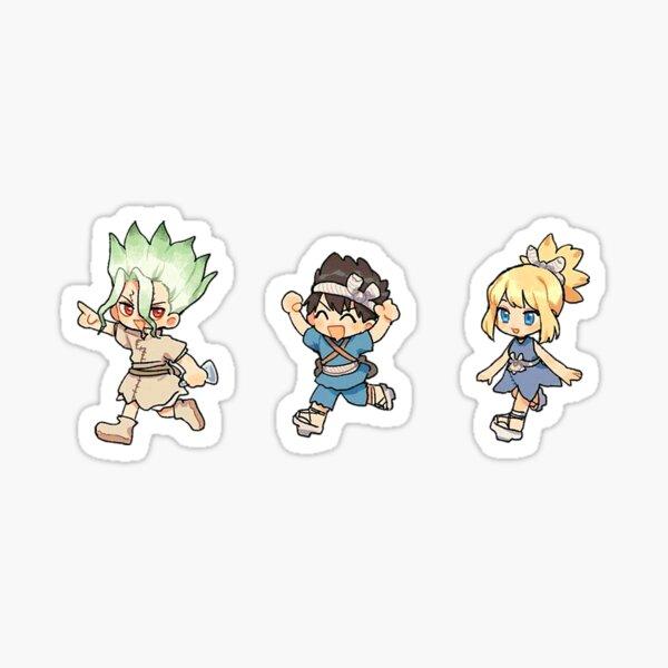 Senku, Chrome, Kohaku chibi de Dr Stone Sticker