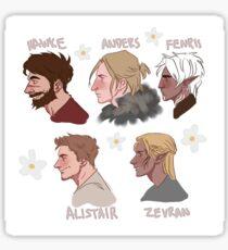 Dragon Age Boys - Hawke, Anders, Fenris, Alistair, Zevran Sticker