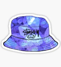 purple crystals stussy bucket hat Sticker