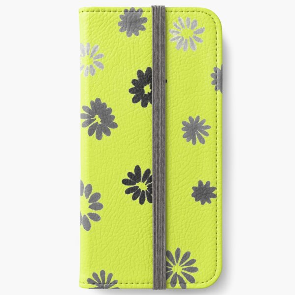 Grey tiny Flowers and yellow iPhone Wallet