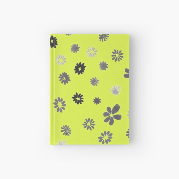 Grey tiny Flowers and yellow Hardcover Journal
