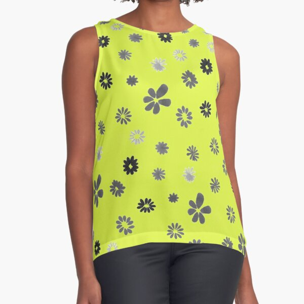 Grey tiny Flowers and yellow Sleeveless Top