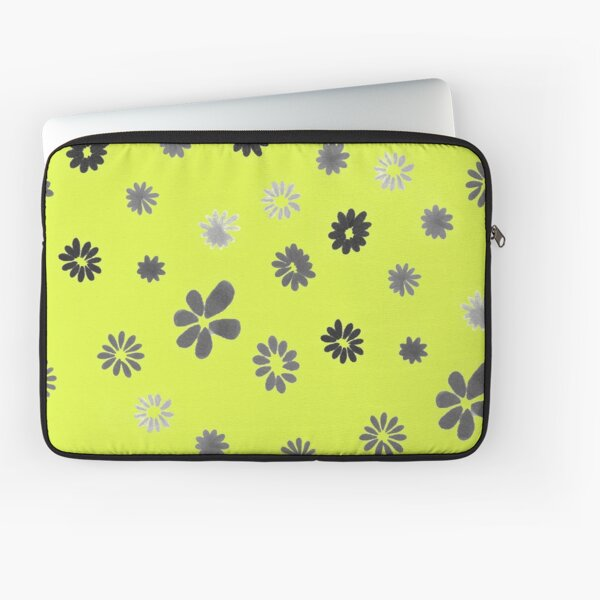 Grey tiny Flowers and yellow Laptop Sleeve
