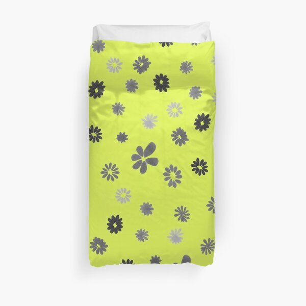 Grey tiny Flowers and yellow Duvet Cover