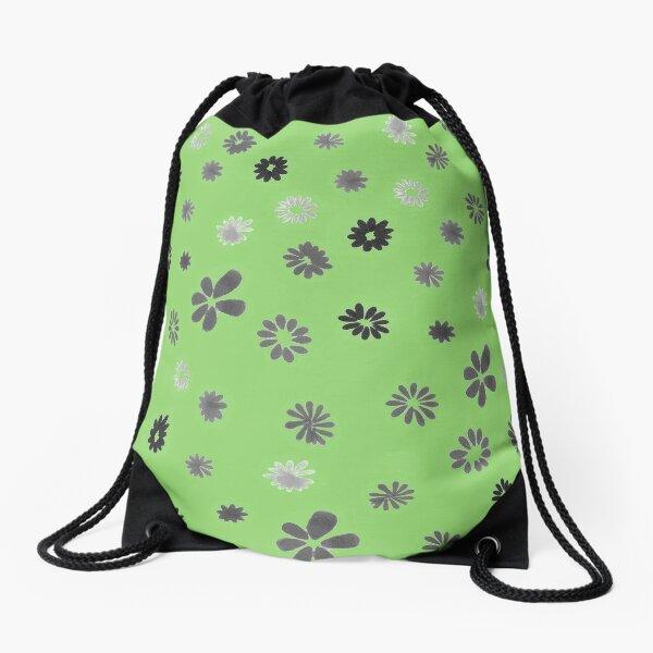 Grey tiny Flowers and green Drawstring Bag