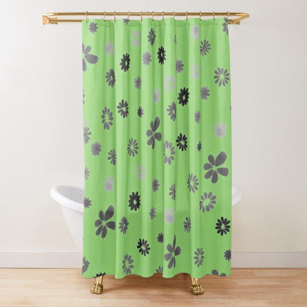Grey tiny Flowers and green Shower Curtain