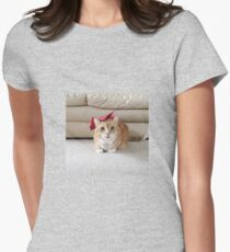 Cute cat with a bow Women's Fitted T-Shirt