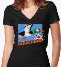Duck Hunt Retro Cover Women's Fitted V-Neck T-Shirt