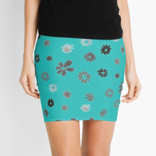 Grey tiny Flowers and turquoise Mini Skirt
