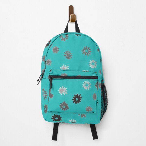 Grey tiny Flowers and turquoise Backpack