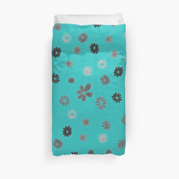 Grey tiny Flowers and turquoise Duvet Cover