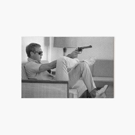 Steve McQueen with gun Art Board Print
