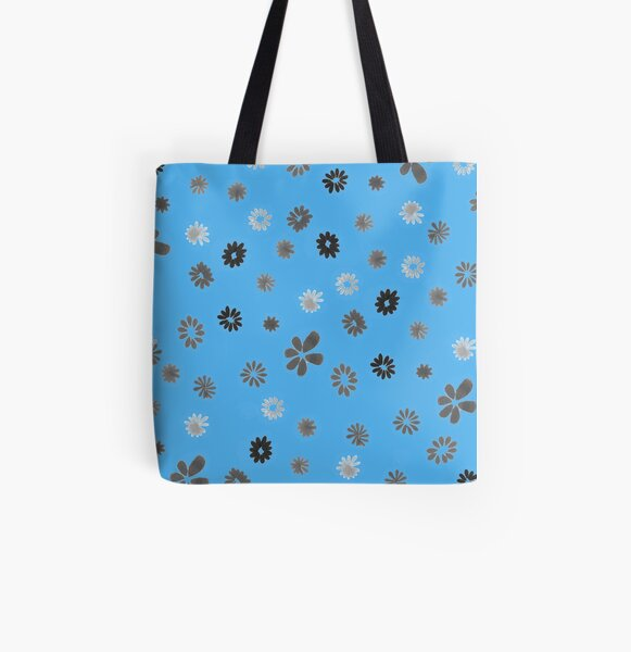 Grey tiny Flowers and blue All Over Print Tote Bag