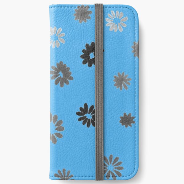 Grey tiny Flowers and blue iPhone Wallet